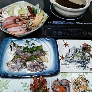 地元産真アジの刺身と太刀魚の炙りとカニしゃぶ♪♪・・・包丁のプレゼントは、刃物屋ドットコムにお任せ下さい!!