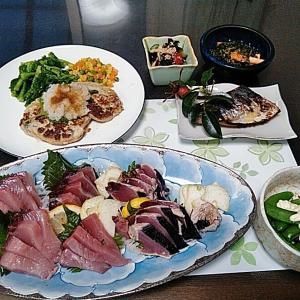 ヨコワとカツオの鯵の刺身と鯵の和風ハンバーグとサワラの西京焼き♪♪・・・包丁のプレゼントは、刃物屋ドットコムにお任せ下さい!!