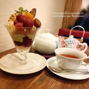【カフェ巡り】AfternoonTea TEAROOM♡渋皮栗と焼きぶどうのモンブランパフェ♪