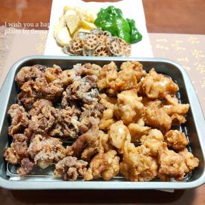 【食育日記】5/1No.1323♡揚げ油は、新しい米油で♡「豚肉と鶏肉のからあげ」