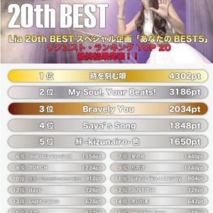 【Lia 20th BEST】Liaさんのベスト盤アルバム「Lia 20th BEST」が11月25日に発売決定!そして12月5~6日に行われる発売記念ライブのチケットをゲット!今からライブ楽しみです!