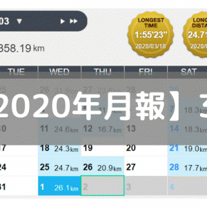 【月報】レースの目処は立たないが練習は継続(2020/03:358km)
