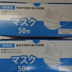 ヨドバシで「ハート電機サービス マスク2箱セット」買った。