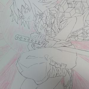 鬼滅の刃「富岡義勇」色鉛筆イラスト「旭日旗」とコラボ