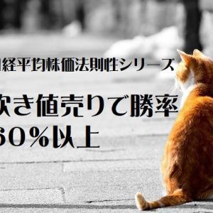 日経平均株価法則性シリーズ 吹き値売りで勝率60%以上