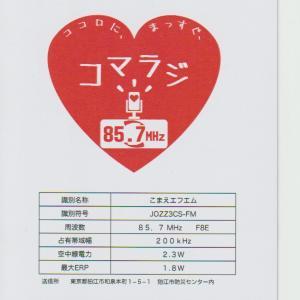 狛江エフエム(コマラジ)のベリカード