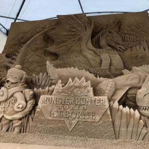 【芸術】繊細な大型砂像がヤバい!『アイスボーン×鳥取市』スペシャルコラボが展示された件