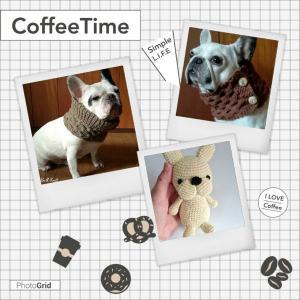「犬用ネックウォーマー」と「フレブルのあみぐるみ」の【編み図】を販売しています
