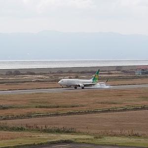 佐賀空港の春秋航空着陸