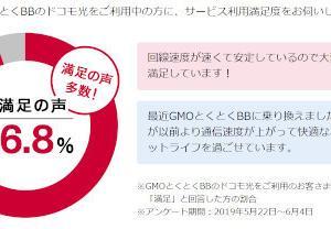 ドコモ光 GMO 満足の声が96.8%