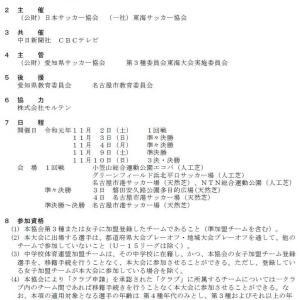 高円宮杯 第31回 全日本U-15サッカー選手権・東海大会【要項・組合せ】
