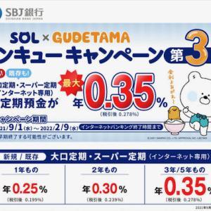 SBJ銀行の金利が最大0.35%の定期預金