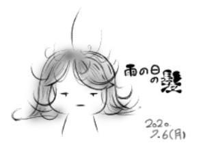 梅雨時期の髪の毛が…(※落書き注意)
