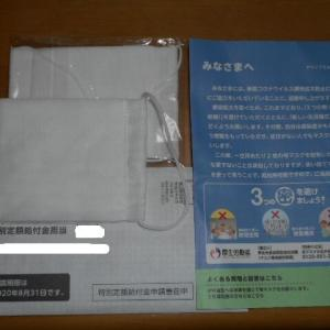 アベノマスクと特別定額給付金申請書が届きました。