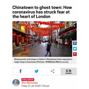 2月7日からのロンドン行きを中止しました。1月31日のロンドンのチャイナタウンの写真を見て。