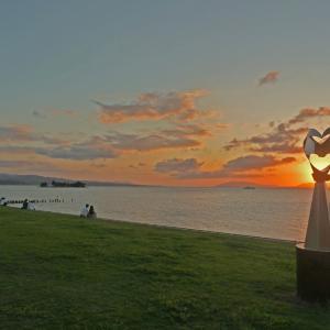 松江湖畔公園 岸公園の夕景