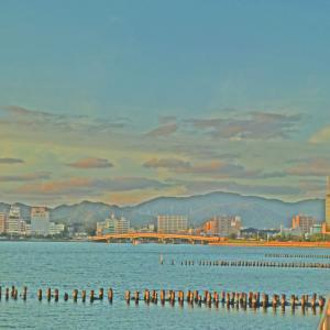 宍道湖 岸公園からの夕景