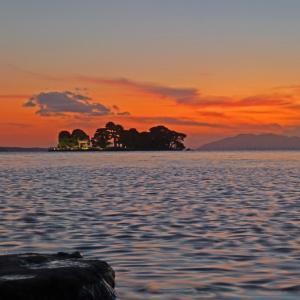 宍道湖 嫁が島の夕景