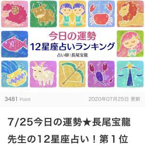 7月25日 今日の運勢 12星座占いランキング