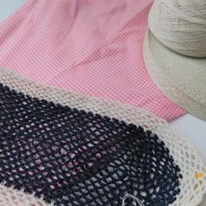 化繊糸で編む、ショッピングバッグ