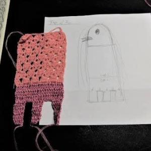 妖怪「アマビエ」を編み編みアップリケに