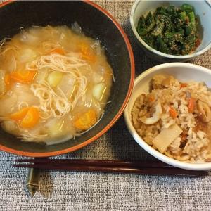 煮麺と炊き込みご飯