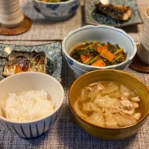 塩サバ・大根葉の甜麺醤炒め