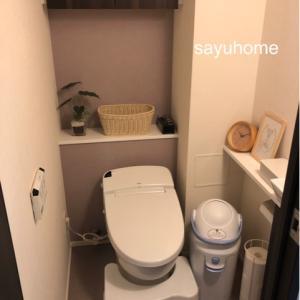 子供用品が多いトイレ…モノトーンとナチュラルカラーに抑えています。