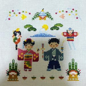 【クロスステッチ刺繍】NEW YEAR/お正月 完成。