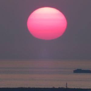 無風の夕日