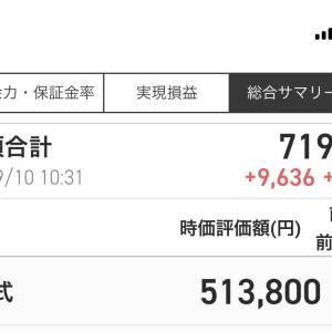 本日の儲けは4606円^^株式の金融資産合計は714857円に増加^^