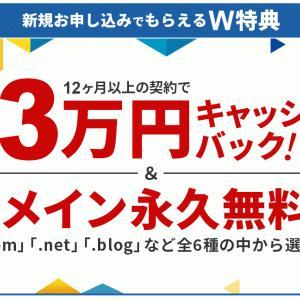 サーバー新規契約で最大30,000円キャッシュバック!