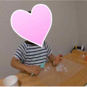 3歳の男の子と室内遊び(せっけん作り、粘土スイーツ作り)