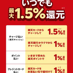 『楽天Pay』 どんな買い物でも最大1.5%還元!! スマホ決済キャンペーン!!
