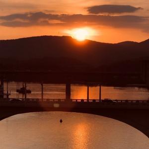 テネシー川にかかるWalnut Street Bridgeの上で綺麗な歌声を聞きながらノスタルジックな気持ちで夕陽を眺めていました…