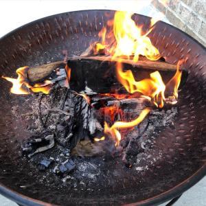 朝方、随分と冷え込んできたので、バックヤードのパティオで薪に火を入れました… 癒されます…