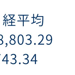 日経平均  18,803.29  -743.34