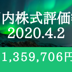 国内株式評価額-1,359,706円