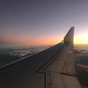 夕日の中を飛ぶ:ロサンゼルスから移動 アメリカ② ~ Sunset