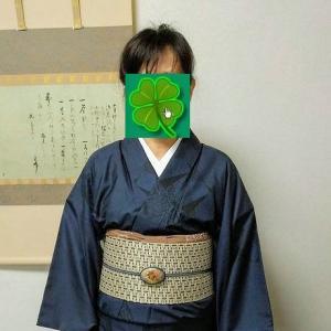 着物コーデ~藍色大島紬&野蚕糸帯&ブローチから作り替えの帯留編 。.:*・° ♫