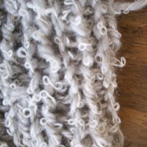 no.3「レッグウォーマー」から「子供さん用帽子」に?ループ糸で棒針編みってサイズが難しいです?