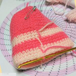 続々々々々々~宿題のカギ針編みのツムツムの「シャチ猫」を編む♪進んで・・・編み図の25段目