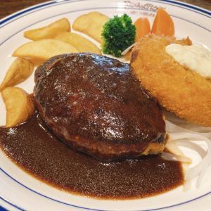 岡山市中区 倉田交差点から徒歩2分 洋食レストラン【 ボンジョル】 にてハンバーグとカニクリームコロッケの週替わりランチをオーダー
