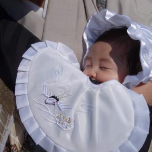 初孫のお宮参りで東京葛飾区の亀有香取神社へ
