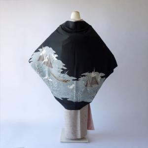 モモンガKIMONO羽織(アオサギ柄)着物リメイク・オーダーの制作