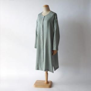 着物反物使用のセミオーダーメイド/無地反物から単衣春夏ロングジャケット制作