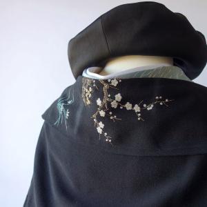 サンプル制作/留袖から制作した小さな梅柄が可愛いマーガレット風羽織
