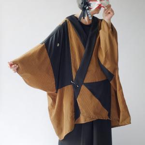 東洲斎写楽 三代目大谷鬼次の江戸兵衛イメージの丹前生地と黒紋付から作ったジャケット