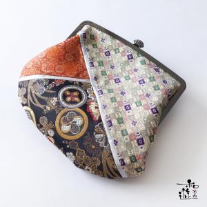 石川豊信 花下美人・3種の西陣織物から制作した『乙女の小袖風』がま口切嵌(きりばめ)ハンドバッグ