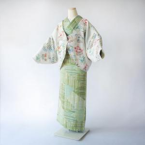 羽織リメイク/セミオーダーメイド/蝶袖羽織カーディガン/友禅と刺繍の花籠柄